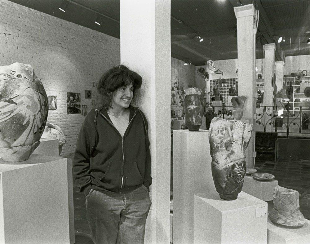 Ree Kaneko at the Craftsman's Gallery, circa 1981. Photo courtesy Ree Kaneko.