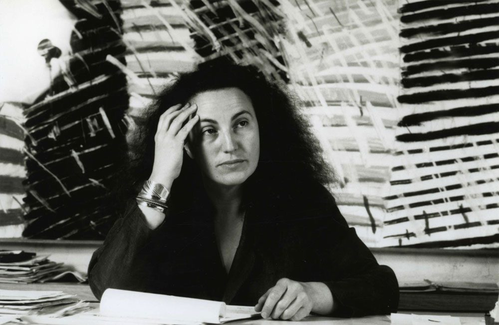 Ree Kaneko in her office as Founding Director of the Bemis Center for Contemporary Arts in 1988.